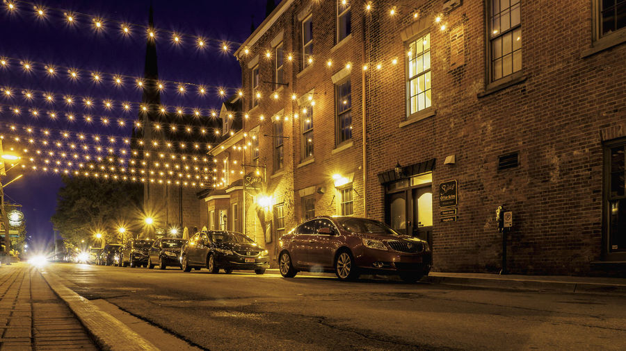 Downtown Charlottetown by night Charlottetown City Life Cityscape Downtown Architecture Building Building Exterior Built Structure Canada Car City Light Lighting Equipment Night No People Outdoors Pei Prince Edward Island Road Street Street Light Transportation