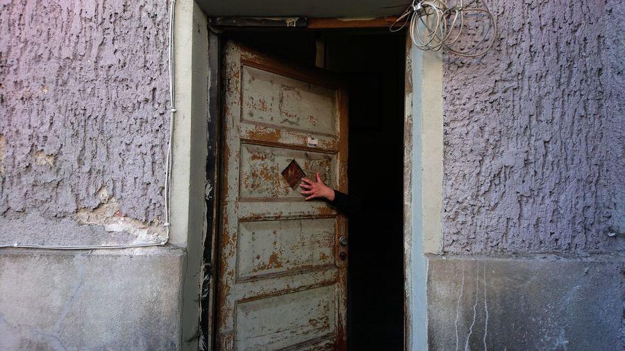 Person touching door