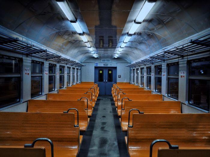 Empty night suburban train