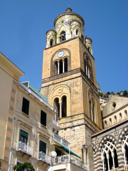 Architecture Bell Tower Blue Building Exterior Built Structure Clear Sky Clock Tower Day History Low Angle View No People Outdoors Place Of Worship Religion Sky Spirituality Amalfi Coast Amalfi  Amalfi Cathedral Duomo Di Amalfi Italy🇮🇹