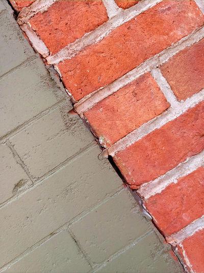 High angle view of brick wall