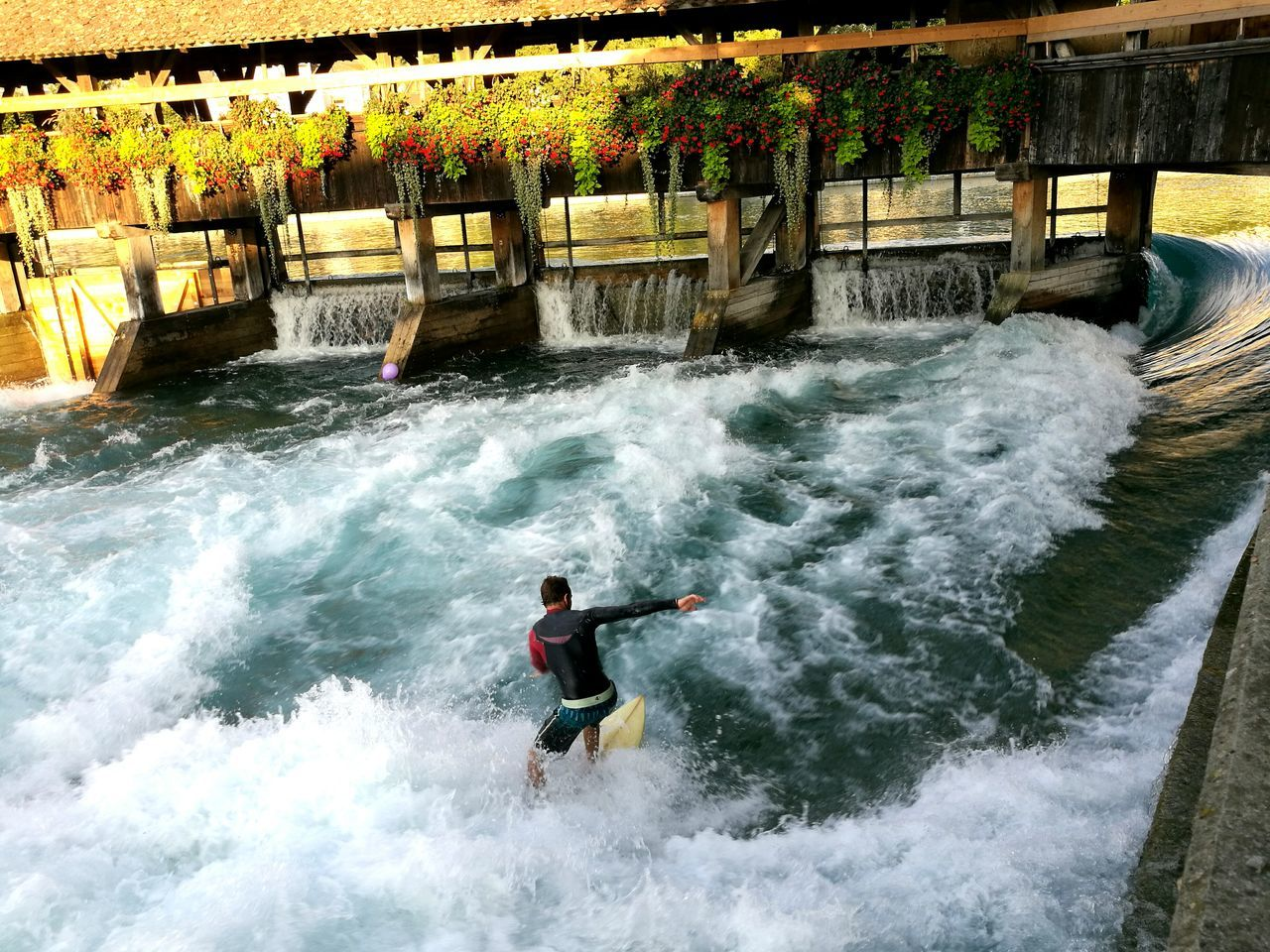 motion, waterfall, day, water, adventure, wave, rapid, speed, one person, one man only, outdoors, nature, river, power in nature, full length, beauty in nature, men, only men, extreme sports, adults only, adult, people
