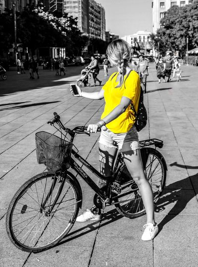 Selfie Architecture Barcelona Beautiful Bicycle Bike Building Exterior Built Structure Casual Clothing City City Life City Street Day Gothic Land Vehicle Mode Of Transport Outdoors Parking Person Road Selfie Street Transportation Travel Vibrant Color Yellow