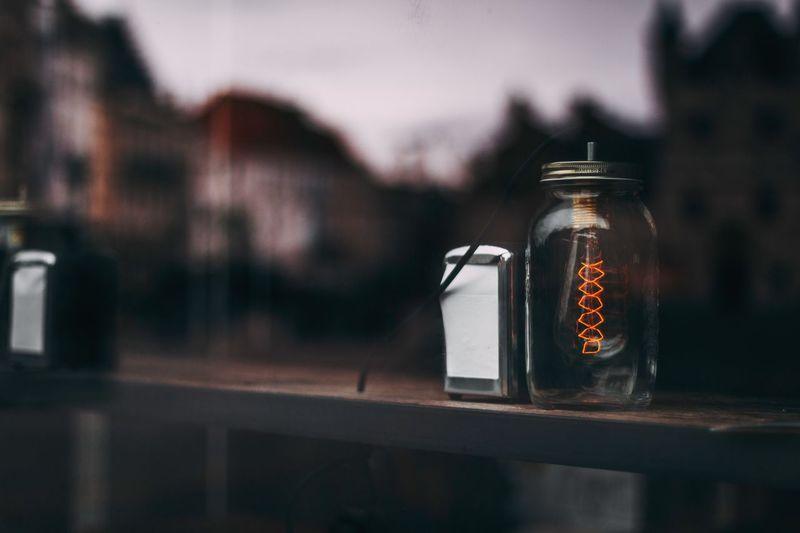 Close-up of illuminated light in jar