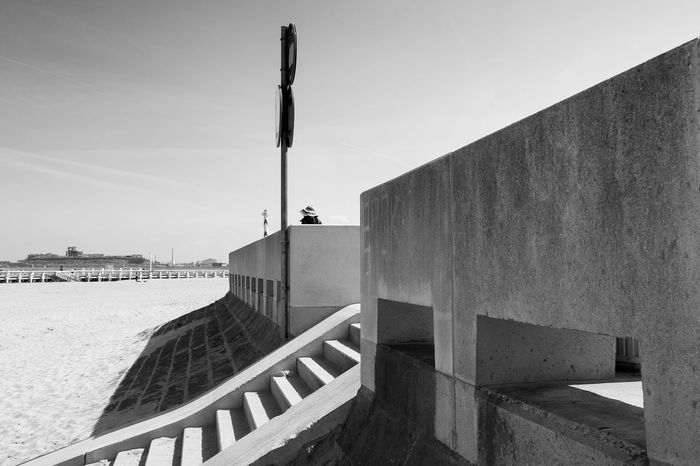 Beach Blackandwhite Photography Built Structure City Clear Sky Day Outdoors Sand Stairs