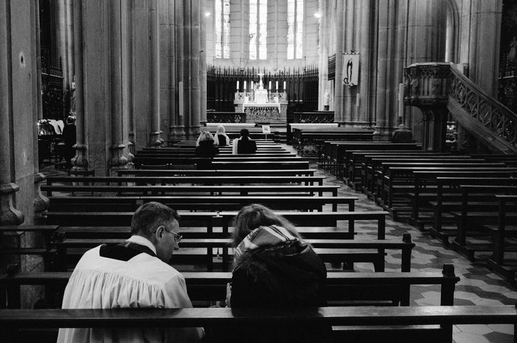 Adult Architecture Believer Bench Benches Built Structure Cathedral Catholic Church Connection Day Indoors  Interior Listening Men People Pew Place Of Worship Priest Religion Sky Pilot Spirituality Staircase Steps And Staircases Talking BYOPaper!