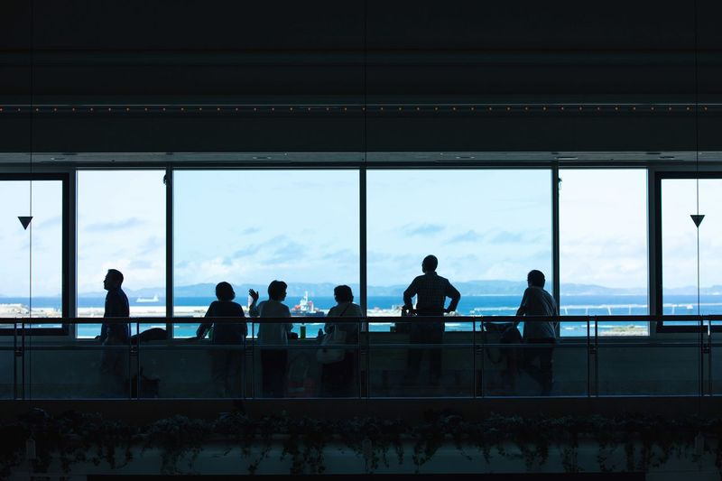 Airport Group Of People Window Real People Men Railing Women Lifestyles Architecture Indoors  Travel Sky Silhouette Built Structure Glass - Material Adult Transparent People Transportation Medium Group Of People A New Perspective On Life