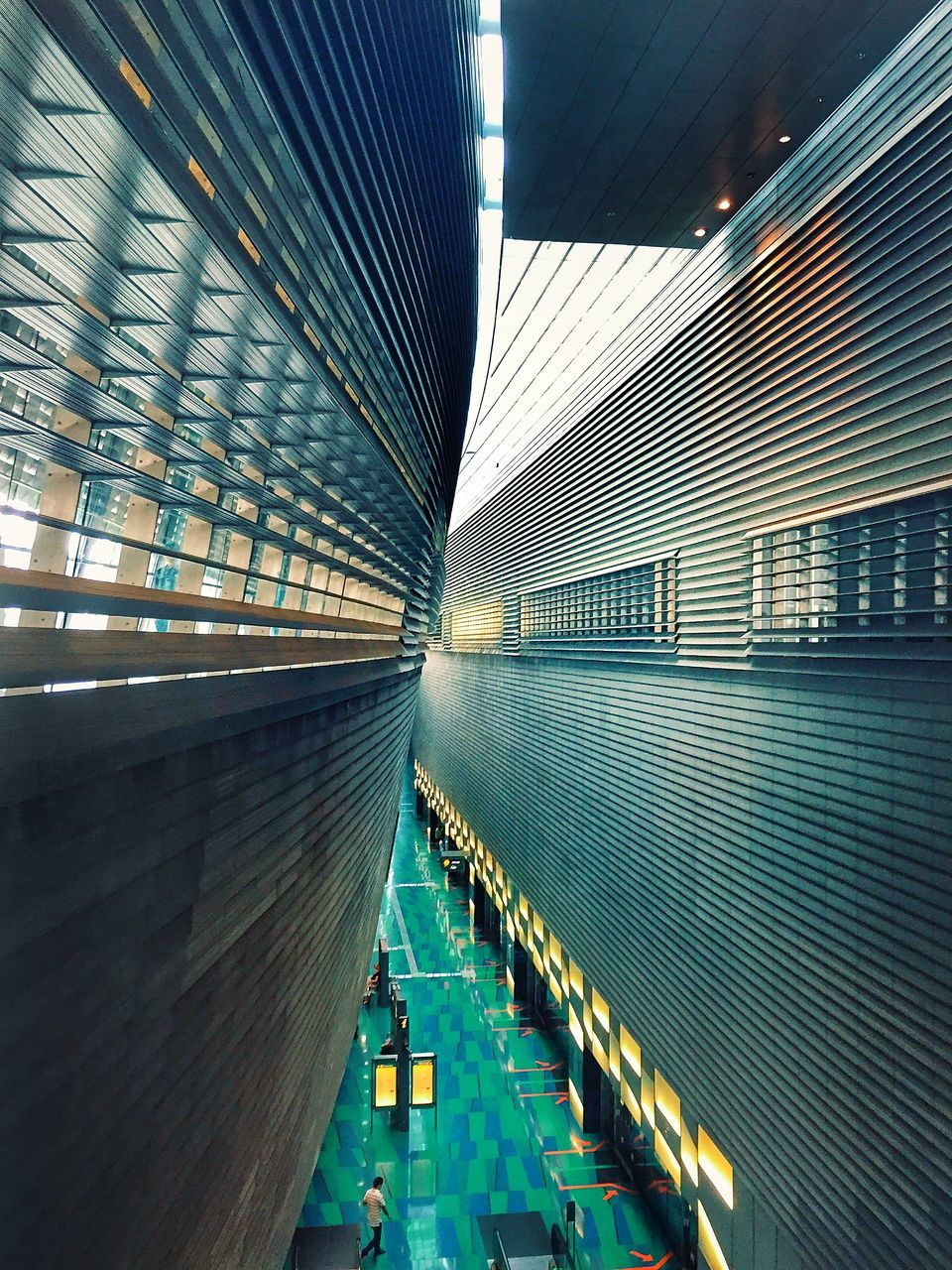 architecture, illuminated, built structure, indoors, modern, futuristic, the way forward, day, no people
