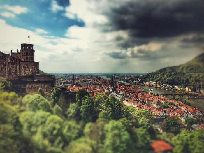 Heidelberg Castle Architecture Building Exterior Cloud - Sky Built Structure Sky House Town Day No People Outdoors City Cityscape Nature Sea Residential  Germany Heidelberg Castle Ruin Castle Castle Park Low Angle View City View  Beauty In Nature The Great Outdoors - 2017 EyeEm Awards Landscape Vacations