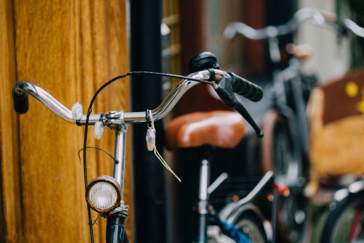 Details of vintage bikes on amsterdam streets, netherlands.