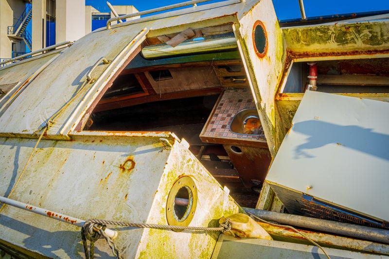 Close-up of abandoned boat