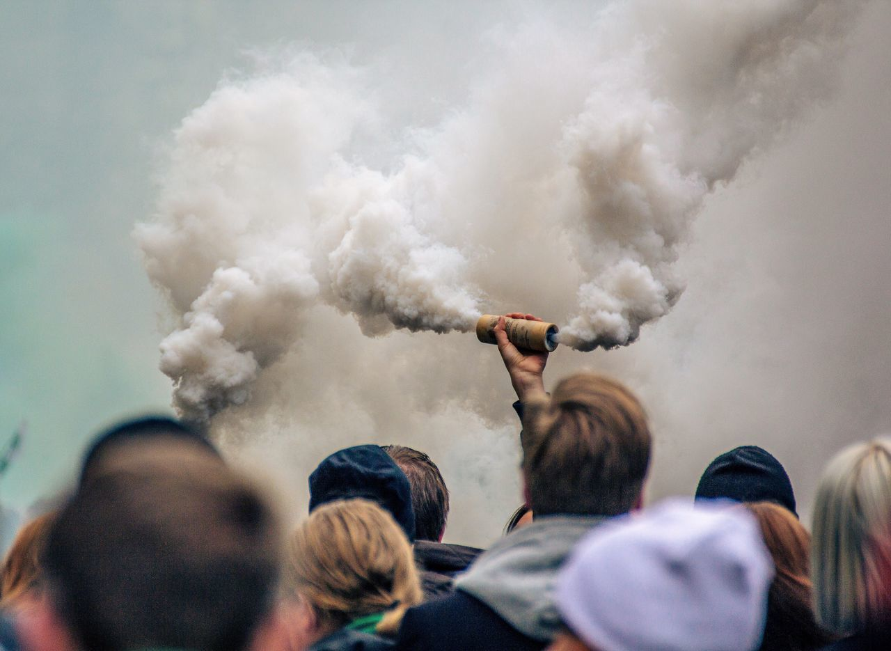 smoke - physical structure, group of people, real people, men, people
