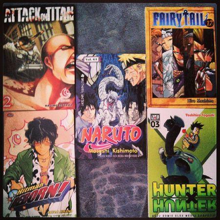 Koleksi terbaruku. Attackontitan vol 2, FairyTail vol 17, Hitmanreborn vol 4, Hunterxhunter vol 3, & yang paling ditunggu-tunggu: naruto vol 61!!!