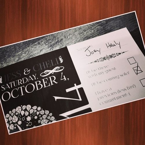 Our first official wedding RSVP comes from our Bestman @joeyhealybrows! So his reply says he's coming solo ... I guess TheSinglesProject has a little magic to work! @bravotv @bravoandy BravoTV Joeyhealybrows joeyhealy
