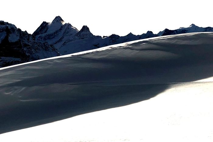 Alpine Silhouette Grindelwald Alps Snow Mountain Sunlight Nature Cold Temperature Landscape Outdoors