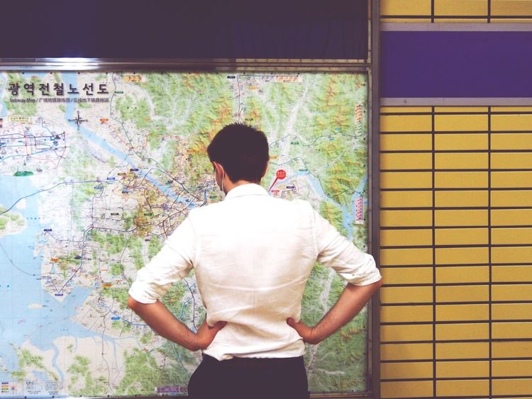 One Person Map Real People People Young Adult One Man Only Korea Seul Korean Travel Metro Station Metropolitan South Korea Traveler Wheretogo Lost Lost In City Holiday
