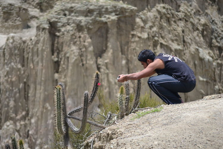 Young man clicking photograph of cactus growing on field