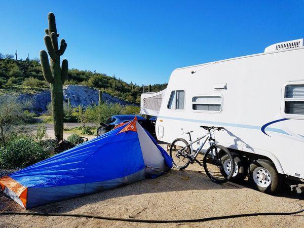 Blue Tree No People Outdoors Day Vacations Beach Deserts Around The World Pleasant Nature Desert Skies Arizona Mountain Biking Tent Tent Camping EyeEm Diversity