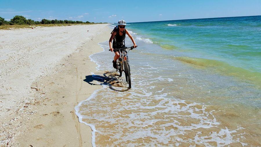 fun Beach Beachphotography Headwear Full Length Sea Sand Sport Sky Mountain Bike Biker Cycling Cycling Helmet Crash Helmet Riding