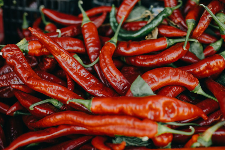 Close up red chilli peppers