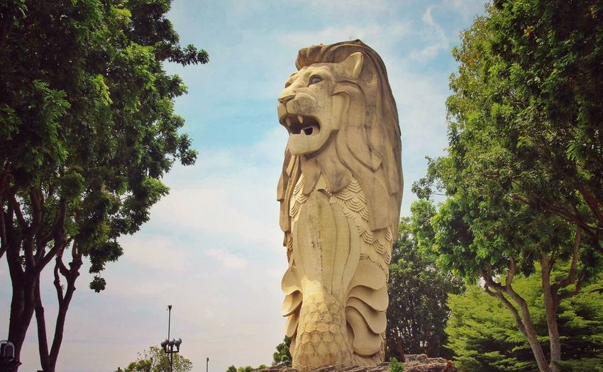 Symbol of Good Luck, Merlion Statue Low Angle View Sculpture EyeEmNewHere EyeEmNewHere