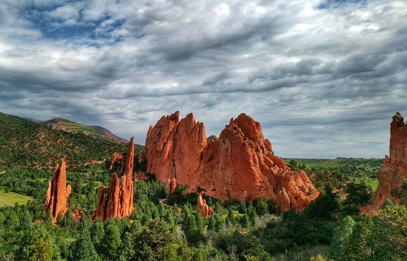 Rock Formations At Garden Of The Gods Against Cloudy Sky