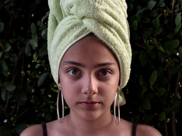 A girl with a towel