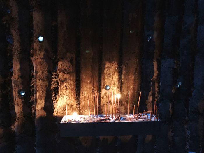Illuminated Candle Flame Burning Inside Architecture Chapel Church Zumthor Pattern Darkness And Light Feldkapelle Bruder Klaus Chapel