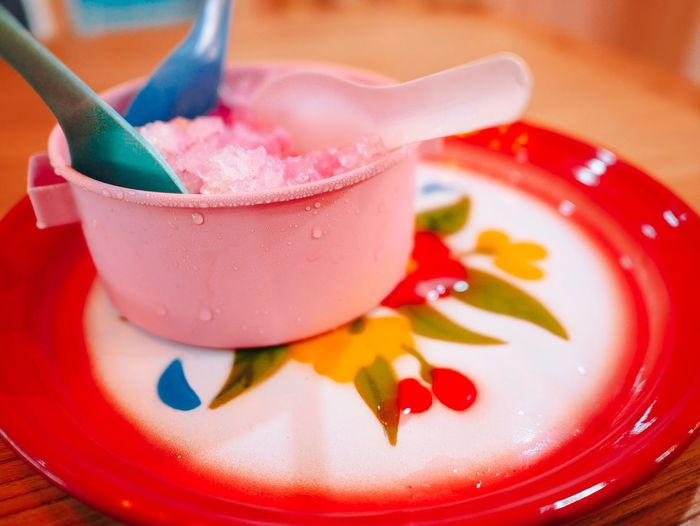 High angle view of dessert in bowl on table