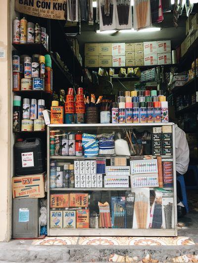 Graffiti on shelf in store