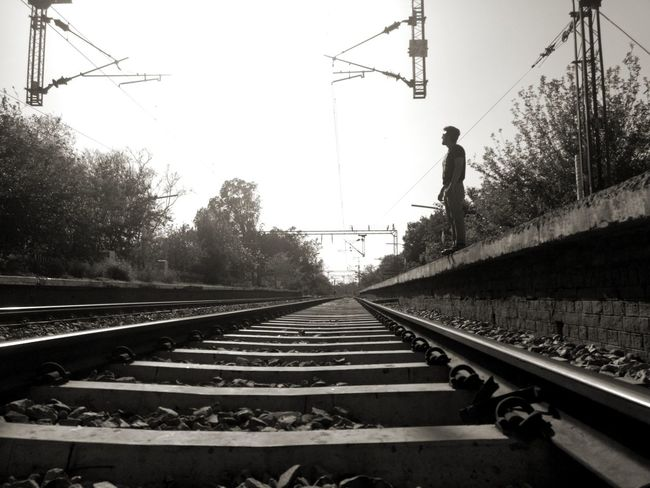Railroad Track Rail Transportation Outdoors Electricity Pylon Sky Day No People EyeEm VOID Deep Thoughts Blackandwhite Photography Waiting For A Train Welcome To Black Connection Lost In Thought... Searching For Meaning TherightMoment Hiddenmeaning