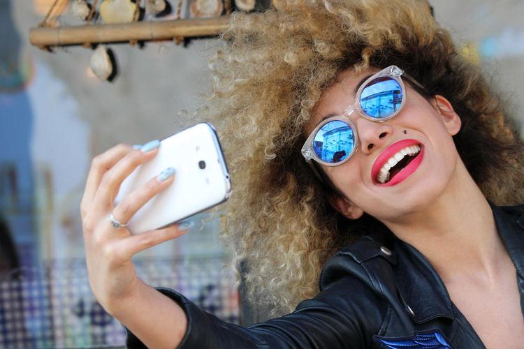 Happy Woman In Sunglasses Taking Selfie Mobile Phone