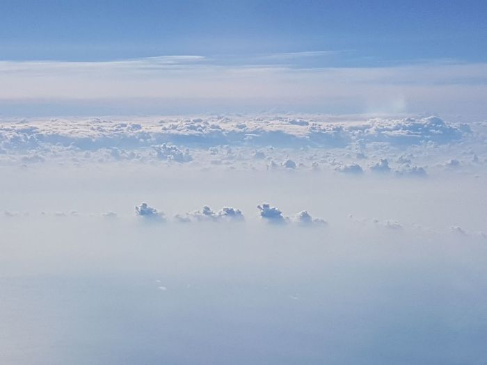 Clouds And Sky From A Airplane Window Clouds Sun The Earth Below
