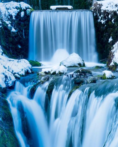 Waterfall Flowing Water Water Motion Long Exposure Beauty In Nature Nature Scenics Blurred Motion No People Outdoors Forest Day Running Water Tranquility Shades Of Winter