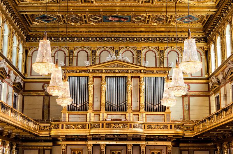 Chandeliers hanging in musikverein concert hall