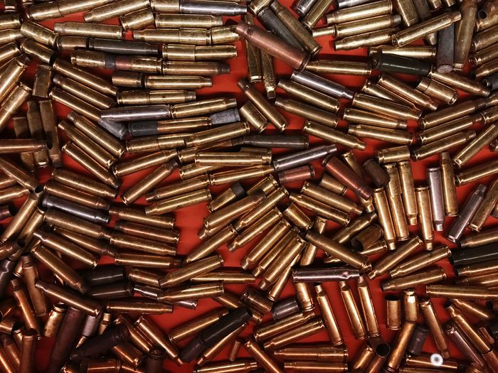High Angle View Of Bullets