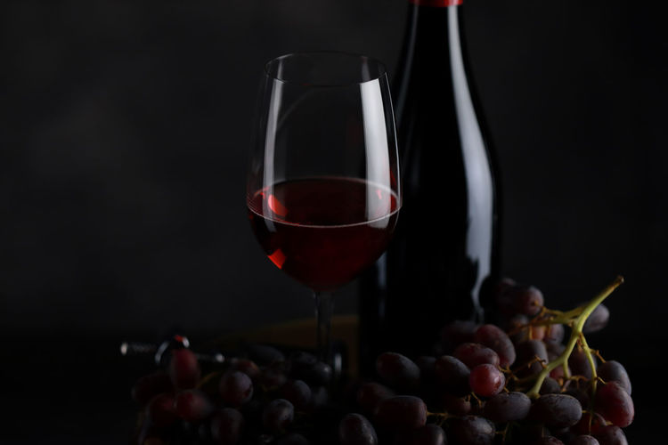 Close-up of red wine in glass