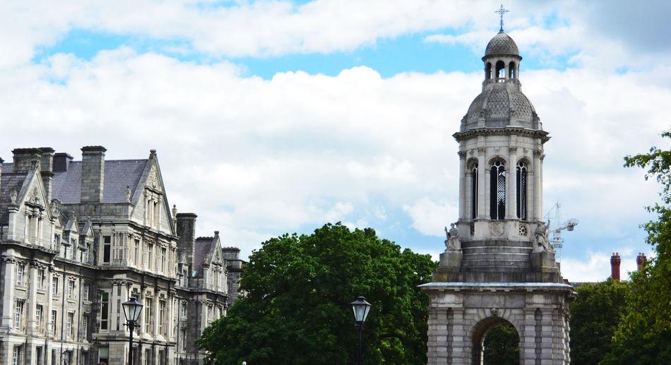 The courtyard of Trinity College in Dublin, Ireland. Dublin Dublin, Ireland Nikon Travel Victorian Architecture Building Exterior City Courtyard  Edwardian History Nikonphotography No People Photography Sky Tower Travel Destinations Trinity College