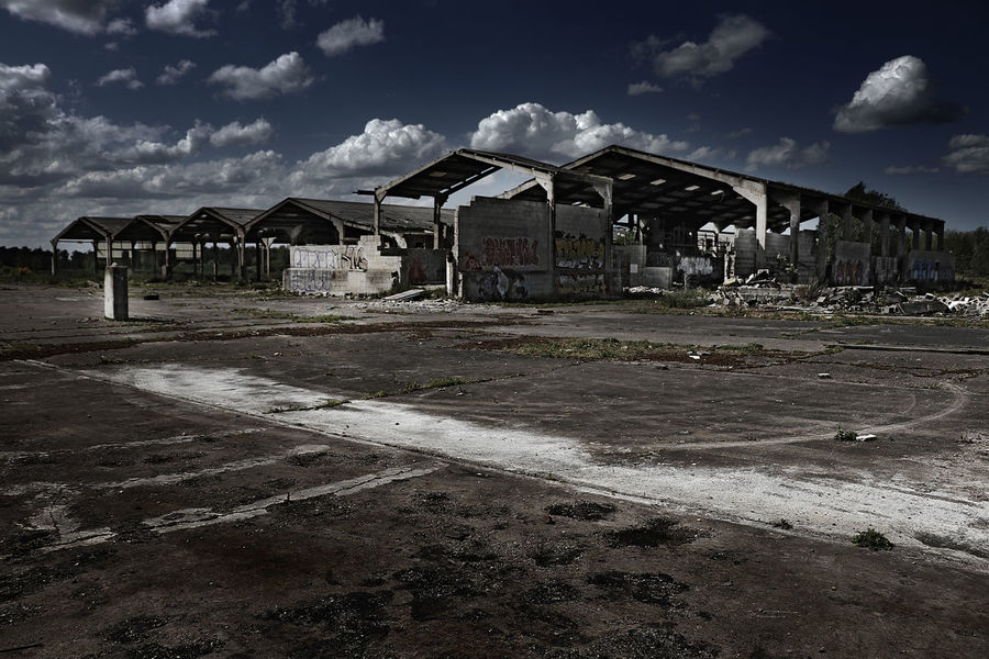 Urban decay Cloud - Sky Sky Built Structure Architecture Outdoors No People Ruins Ruined Building Mushroom Farm Abandoned Places Abandoned Buildings
