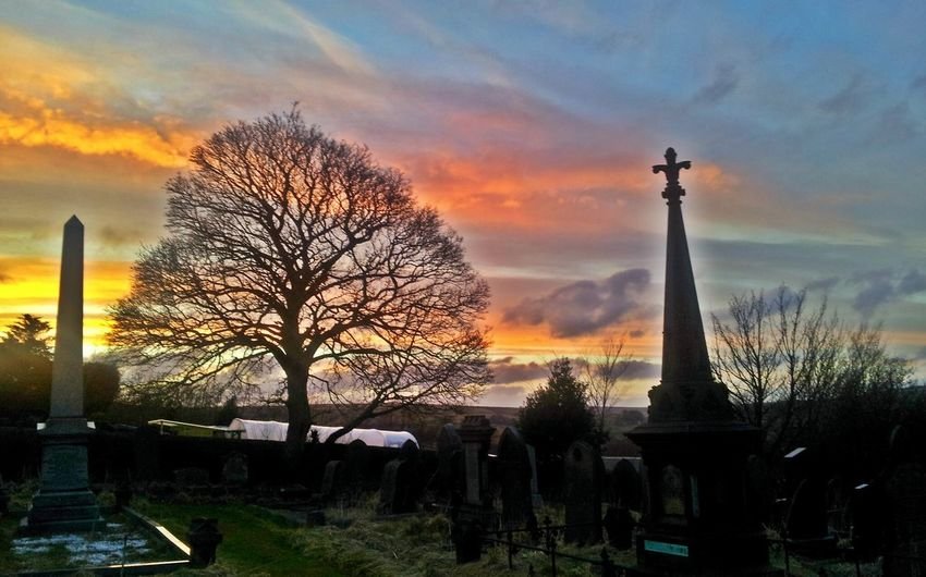 Spooky Church Graveyard.. Sunset Silhouettes Sunsetporn Spooky Sunset