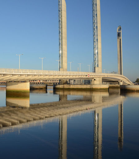Reflection of bridge on water against clear blue sky