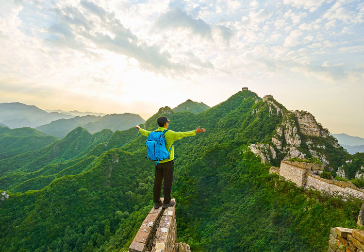 The Great Wall travel Adventure Architecture Beauty In Nature Beijing Beijing China Beijing Scenes Beijing Trip Beijing, China Brick Brick Wall China China Beauty China Photos China View East Asia Great Landmark Landscape Man Mountain Mountain Range Oriental Real People Rear View Young Men