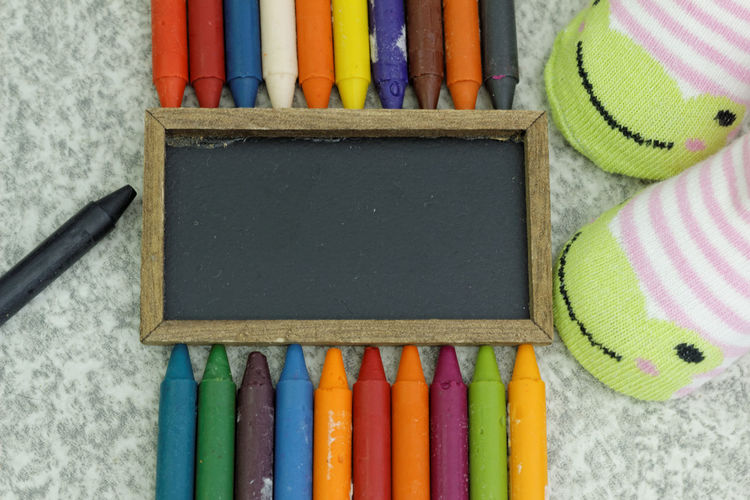 Colourful crayons Crayon Crayons Kids Children Socks Copy Space Copyspace Art Colouring  Coloring Education Hobby Concept Multi Colored Variation Directly Above Close-up Colored Pencil Colorful Group ArtWork Art And Craft Equipment Desk Organizer Many
