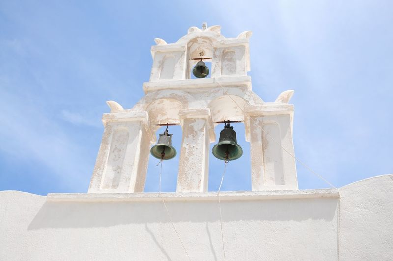 Low angle view of bells hanging at church against sky