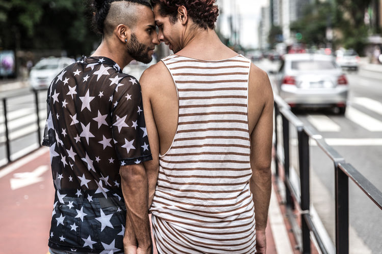 Happy Gay Couple together Casual Clothing City Couple - Relationship Real People Togetherness Two People