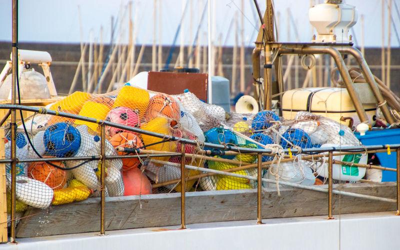 Fishing net in boat on sea