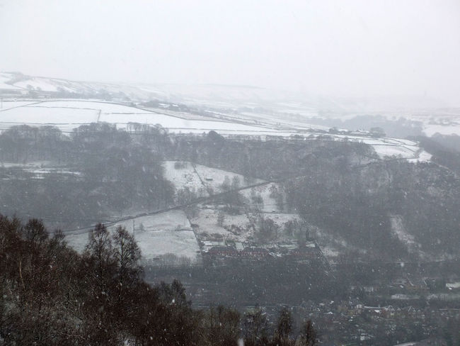 falling snow in a pennine landscape near hebden bridge Hebden Bridge Yorkshire Beauty In Nature Cold Temperature Day Fog Landscape Mountain Nature No People Outdoors Pennies Sky Snow Snowing Tree Winter