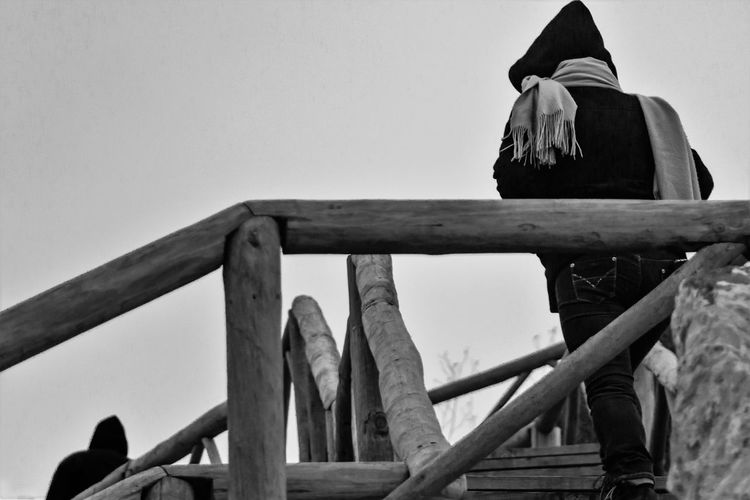 Black Black And White Capuz Clear Sky Day Escadas Girl Low Angle View Misticismo Move Up Muffled Mysticism Outdoors Real People Sky Stairs Subir Wood Wood - Material