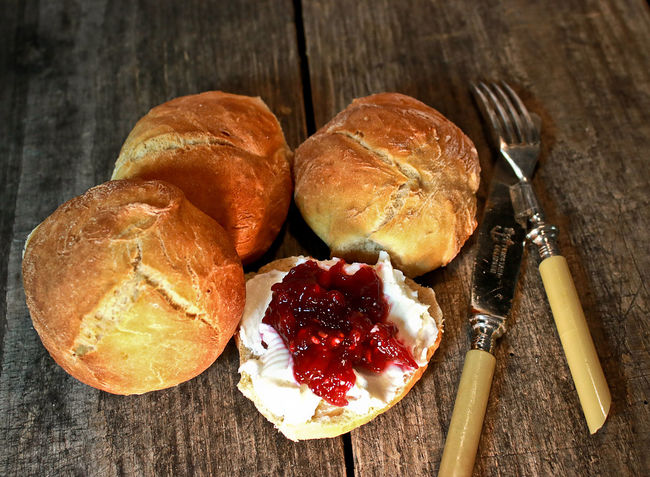 Bread Roll Breakfast Close-up Cream Cheese Food And Drink Fork Freshly Baked Home Made Buns Jam Knife Road