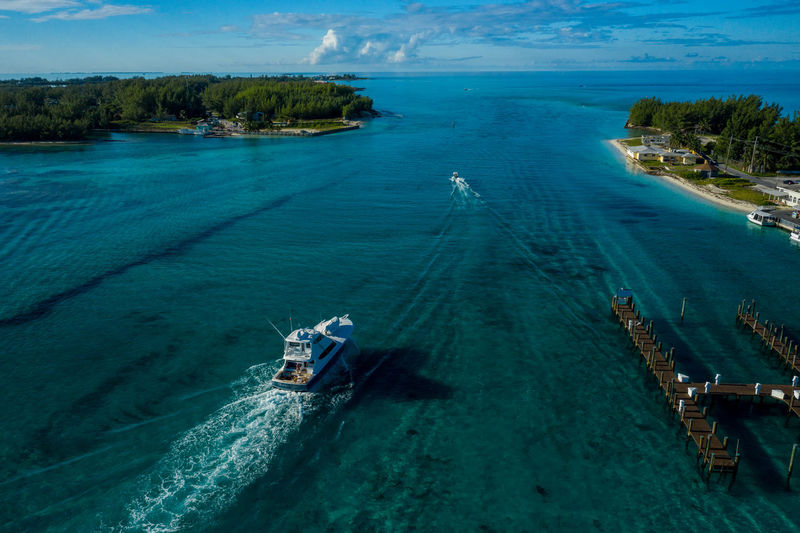 Narrow Channel Dji Mavic 2 Pro Water Sea Nautical Vessel High Angle View Transportation Scenics - Nature Nature Day Mode Of Transportation Beauty In Nature Turquoise Colored Ship Aerial View Outdoors Blue Tranquility No People Land Bimini Yacht Harbor